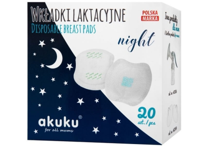 AKUKU Wkładki laktacyjne Night 20 sztuk A0444