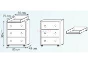 Zestaw mebli ŻYRAFA dąb santana DREWEX szafa, komoda, łóżeczko z opuszczanym bokiem