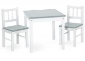 KLUPŚ Stolik + dwa krzesła JOY zestaw biały-szary