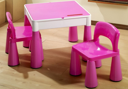 TEGA mamut zestaw stolik + krzesełka różowy
