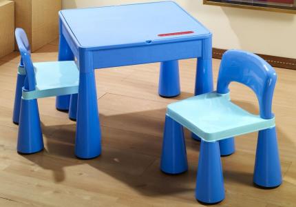 TEGA mamut zestaw stolik + krzesełka niebieski
