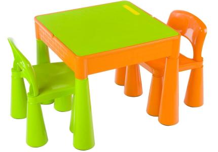 TEGA mamut zestaw stolik + krzesełka pomarańczowo zielony