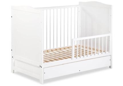 Łóżeczko niemowlęce białe 120x60 z szufladą, barierką ochronną, gryzakiem FELIX KLUPŚ Katalog Produkty