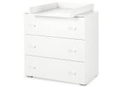 Zestaw białych mebli PAULA łóżeczko, komoda z przewijakiem, szafa, barierka