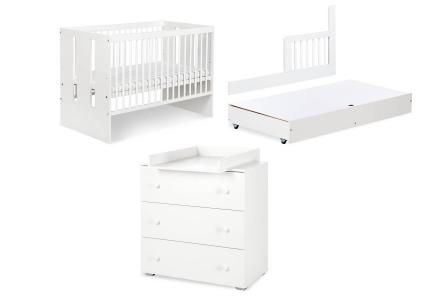 Zestaw białych mebli PAULA łóżeczko, komoda, szuflada, barierka
