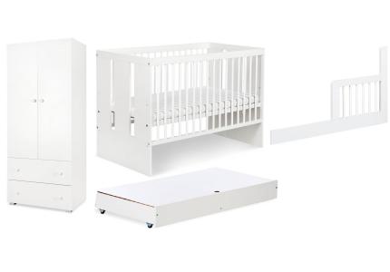 Zestaw białych mebli dziecięcych PAULA szafa, łóżeczko, szuflada, barierka