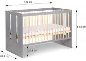 Zestaw mebli do pokoju dziecięcego PAULA GRAFIT KLUPŚ szafa, komoda, łóżeczko