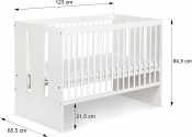 Zestaw mebli do pokoju dziecięcego PAULA biały łóżeczko, komoda z przewijakiem, szafa, szuflada, barierka
