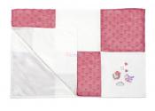 B.O.1411/01 Miękki kocyk patchwork minky, serduszka
