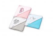 BabyOno Okrycie kąpielowe bambusowe - ręcznik z kapturkiem 76x76 różowe