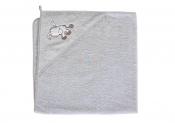 CEBA Ręcznik z kapturkiem OSIOŁEK SZARY 100x100 cm