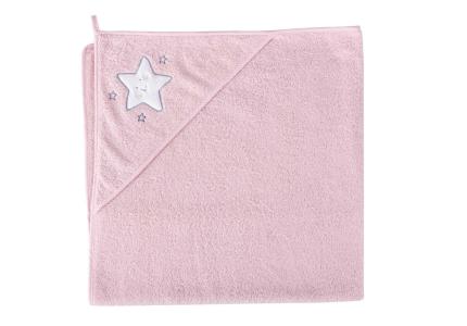 CEBA Ręcznik z kapturkiem GWIAZDKA RÓŻOWA 100x100 cm