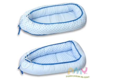 AMY Kokon niemowlęcy maczek niebieski - drobne niebieskie gwiazdki 045
