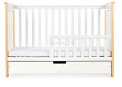 KLUPŚ Łóżeczko IWO białe dwufunkcyjne z szufladą120x60 cm