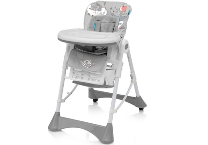 BABY DESIGN Krzesełko do karmienia PEPE 07 szare